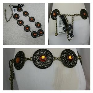 Amiee Lynn Boho Festival Brass Orange Chain Belt